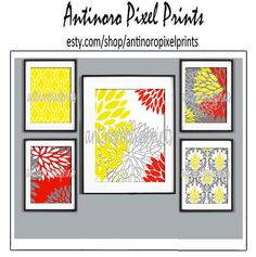 Red Yellow Grey Floral Collage Art Wall by antinoropixelprints, $65.00
