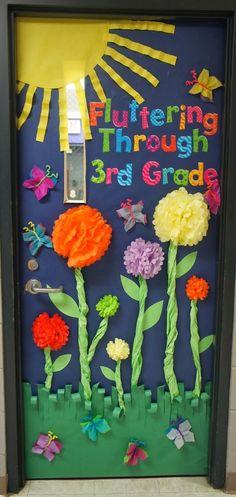 """Fluttering through 3rd Grade!"" A sweet spring door decoration idea!"
