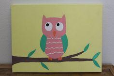 owl paint for nursury | Owl canvas painting, nursery owl art, childrens room: Hand canvas owl ...