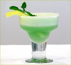 Melon Margarita cocktail.Delicious mixed drink with tequila,melon liqueur and lime juice.