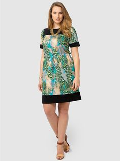 Electric Animal Drawstring Dress by Flor,Available in sizes 0X-5X