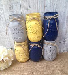 Pint Mason Jars,Navy Blue,Grey,Yellow,Painted Mason Jars,Rustic Wedding Centerpieces,Baby Shower Decoration,Flower Vases,Rustic Home Decor