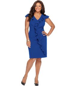 Spense Plus Size Cap-Sleeve Banded-Waist Ruffle Dress - Dresses - Plus Sizes - Macy's Plus Size Cocktail Dresses, Dress Plus Size, Red Cocktail Dress, Plus Size Dresses, Plus Size Outfits, Cute Dresses, Casual Dresses, Dresses For Work, Cap Dress