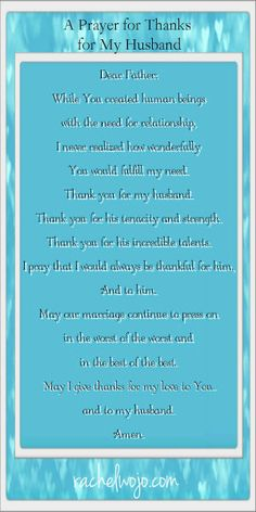 A Prayer of Thanks for My Husband...or yours