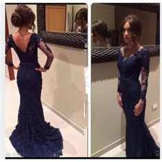 Navy Prom Dresses, Long Prom Dresses, Lace Prom Dresses, V-neck Prom Dresses, Dresses for Prom, Long Sleeves Prom Dresses, Evening Dresses, PD0017