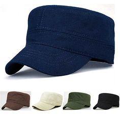 Classic Men Women Solid Color Army Hat Cadet Combat Plain Military Flat Cap  New 7a2fd00df15