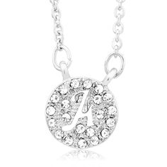 Beverly Hills Sterling Silverplated Cubic Zirconia Initial Cut-out Disk Pendant Necklace (Letter