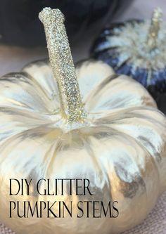 Glitter Pumpkins, Painted Pumpkins, Fall Pumpkins, Halloween Pumpkins, Pumpkin Stem, Diy Pumpkin, Pumpkin Crafts, Fall Crafts, Pumpkin Topiary