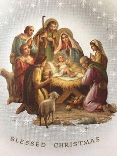 Blessed Christmas Vintage Greeting Card Shepherds Holy Family Nice Unused