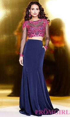 Navy Two Piece Prom Dress with Long Sleeves at PromGirl.com