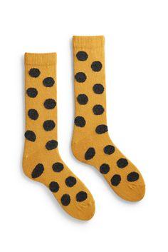 men's giant dot wool + cashmere crew length socks