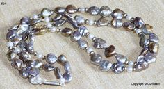 """Baroque Pearl Necklace accented by freshwater pearls and sterling silver - lovely peacock colors - """"Radiance"""""""