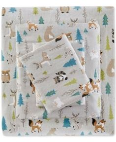 True North by Sleep Philosophy 3-Pc. Cotton Flannel Reversible Twin Sheet Set - Multi Forest Animals