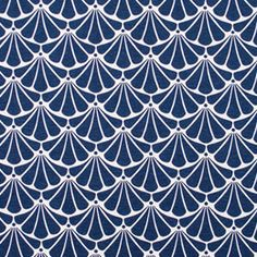 Um padrão em leque em azul marinho e branco. Muito simples, no entanto muito atrativo em trabalhos de estofo. Também é aconselhado para exterior.