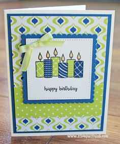 Merry Patterns exclusive stamp set. You can't buy it, but you can get it FREE. Plus, when you place your qualifying order in September, you get 4 cards from me, too!!