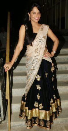 """Anchor Anasuya in half saree at """"Mosagallaku mosagadu"""" audio launch - backless saree blouse, half saree, saree Indian Actress Hot Pics, South Indian Actress Hot, Indian Actresses, Saree Blouse, Sleeveless Blouse, Tv Actress Images, Glamour Ladies, Sexy Little Black Dresses, Bollywood Bikini"""