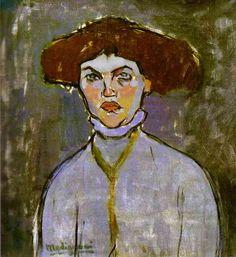 Амедео Модильяни.Голова  молодой женщины. 1908. масло на холсте. 57 x 55 cm. Musee d'Art Moderne, Villeneuve d'Ascq, France.