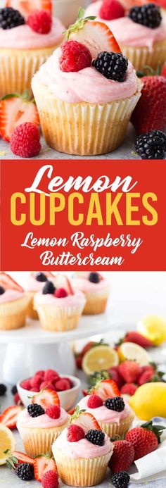 Lemon Cupcakes with Lemon Raspberry Buttercream