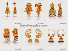 Gold temple earrings divine collection - Latest Jewellery Designs