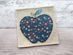 Fabric Coaster - Apple Applique Coaster - Thank You Gift - Apple Gift - Fabric…