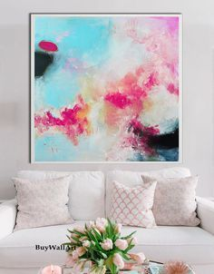 Large Pink blue art abstract Painting pink Giglee by BuyWallArt
