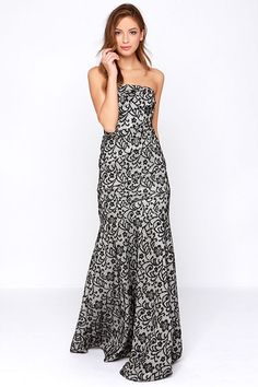 Rubber Ducky Tanya Strapless Black and Ivory Lace Maxi Dress at Lulus.com! So beautiful