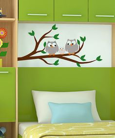 Three owls are perched perfectly on this sweet paint-by-number wall mural.