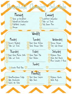 Sherbert Cafe: Printable Home Cleaning Schedule