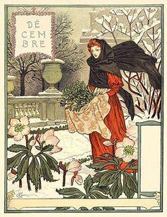 Decembre ~ Art Nouveau calendar illustration by Eugene Grasset, Art And Illustration, Illustrations, Vintage Prints, Vintage Art, Vintage Images, Art Nouveau, Vintage Christmas Cards, Christmas Art, Xmas
