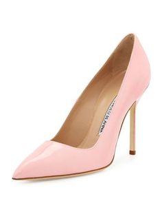 BB Patent 105mm Pump, Light Pink (Made to Order) by Manolo Blahnik at Neiman Marcus.
