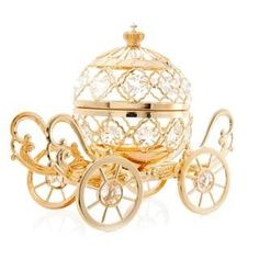 Goldplated Cinderella Inspired Pumpkin Coach Made with Genuine Matashi Crystals | Overstock.com Shopping - The Best Deals on Ornaments