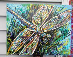 Dragonfly dragon fly lucky wish dawn tarr original art by dawntarr