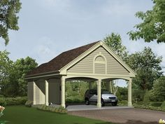 Giselle Carport Plan With Storage from houseplansandmore.com 2 Car Garage Plans, Garage Ideas, 2 Car Carport, Carport Plans, Carport Garage, Detached Garage, Enclosed Carport, Barn Garage, Dream Garage