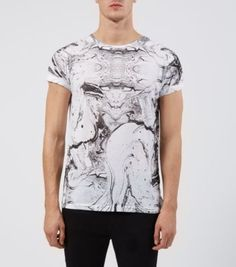 Black and White Marble Print T-Shirt
