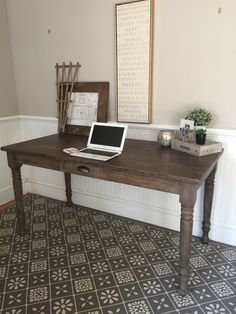 """60"""" x 30"""" and totally customizable- an incredibly stylish addition to your  office space! Shown here in one of our custom stains, this desk features  layers on layers of browns, greys, mauves and blues for a gorgeous  authentic textured finish."""