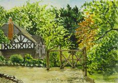 """Blackdown Cottage (Side View)"" (watercolour - 19.5cm x 28.5cm (7.5"" x 11""))"