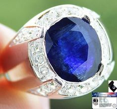 Men's 7.75 cts Genuine Blue Sapphire & White Topaz Ring 100% Solid 925SS S#10 NR #JPS #Gents