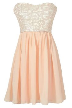 Translucent Lace Strapless Designer Dress in Pale Pink www.lilyboutique.com