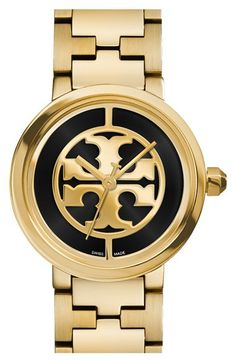 Tory Burch 'Reva' Logo Dial Bracelet Watch, 28mm available at #Nordstrom
