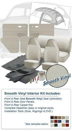 Order your customized 1973 Super Beetle Sedan Deluxe Smooth Vinyl VW Interior Kit today. Vw Super Beetle, Beetle Car, Vw Beetle Convertible, Kdf Wagen, Vw Parts, Vinyl Doors, Carpet Cover, Vw Vintage, Pt Cruiser