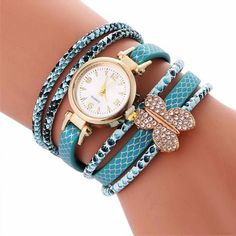 2017 Fashion Watch Women Diamond Butterfly Circle Ladies Watch Wrist Watch For Women Bracelet Vintage Crystal Clock Female #919