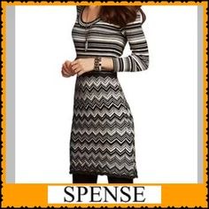DRESS  LONG SLEEVE SWEATER DRESS HEACHARGRY DETAIL STOP The noise. Own the look! SPENSE Long Sleeve Contrast Strip &Chevron Knit Dress Spense Dresses