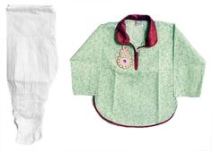 White Cotton Churidar and Printed Light Green Kurta with White Bead Work in Front (Cotton)