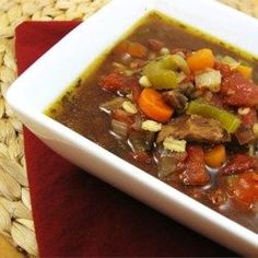 Beef Barley Soup. I made it according to the regular stovetop directions, used stew meat, no celery, extra carrots, and potato, and I was in LOVE. Omg. Incredibly good. However, Adam couldn't stand it.  What??