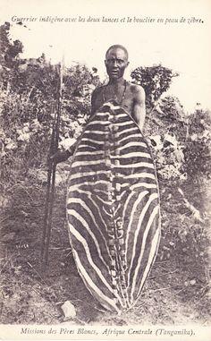 Warrior with lances & zebra shield Tanganyika 1907