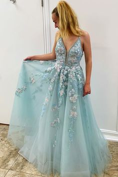 Buy Spaghetti Straps Floral Beading Long Mint Green Prom Dress, V Neck Tulle Formal Dress on sale.Shop prom or formal dresses from Promdress. Find all of the latest styles and brands in Junior's prom and formal dresses at Princess Prom Dresses, Prom Dresses For Teens, V Neck Prom Dresses, Homecoming Dresses, Evening Dresses, Maxi Dresses, Dress Prom, Prom Gowns, Party Dresses