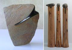 """El Hurgador [Arte en la Red]: José Manuel Castro López [Escultura] Piedra en madera / piedra en la madera"""", 135 x 90 cm."""