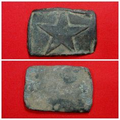 """An extremely rare, excavated, small rectangular, lead-filled """"Star"""" waist belt buckle that was recovered many years ago from a Texas camp on private property near the Battle of Mansfield, Louisiana.  This buckle was hand fashioned by the soldier from a pre-war lead-filled """"Star"""" motif oval militia buckle.  Texas related """"Star"""" motif buckles are among the rarest waist belt plates of all Civil War plates to recover."""