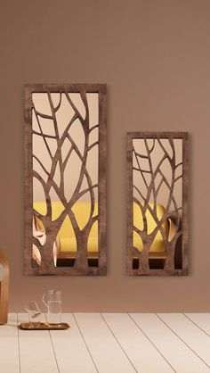 WOODMİRROR - TWİN TREES Wood Mirror, Candle Sconces, Wall Lights, Table Lamp, Trees, Candles, Lighting, Interior, Home Decor