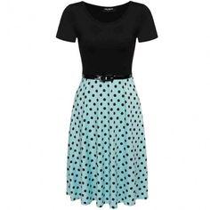 Women Short Sleeve O-Neck Polka Dots A-Line Dress With Belt